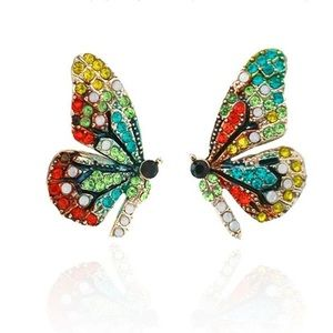 NWT Butterfly Wing Earrings Multi Color Bedazzled